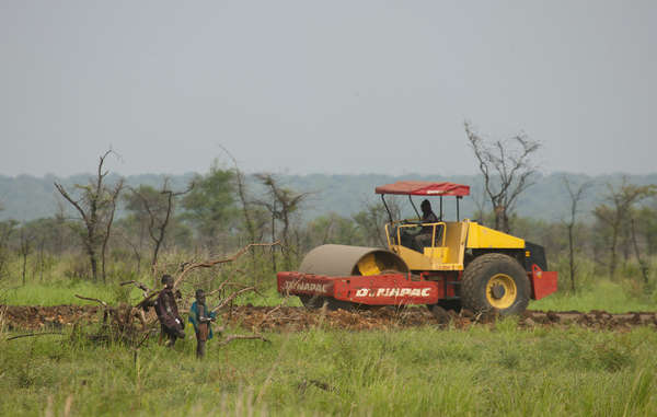 Bulldozers clearing Mursi land in Mago National Park, where communities are being evicted from their land to make way for sugar plantations.