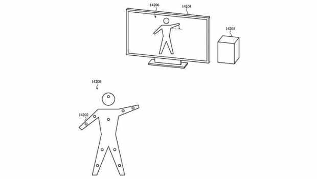 According to Apple's patent sketch, the airtags can be attached to the body to control an avatar.  (Sketch: Patently-Apple, USPTO)