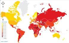 Τα κράτη με κίτρινο και πορτοκαλί χρώμα παρουσιάζουν τις καλύτερες επιδόσεις στη διαφάνεια.
