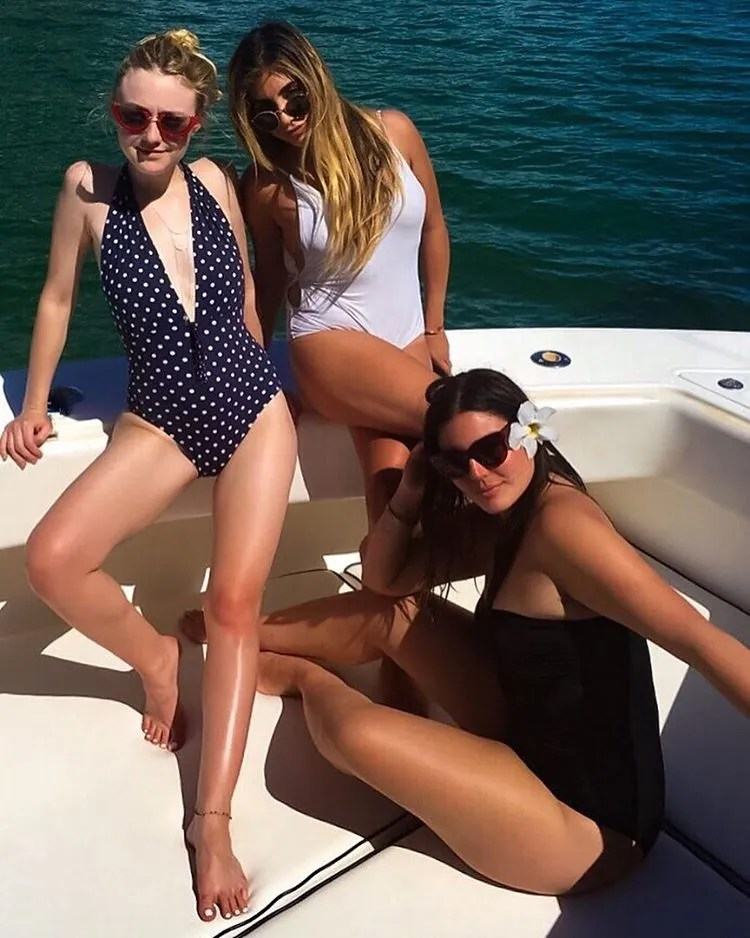 Dakota Fanning Wore A Polka Dot One Piece Swimsuit On