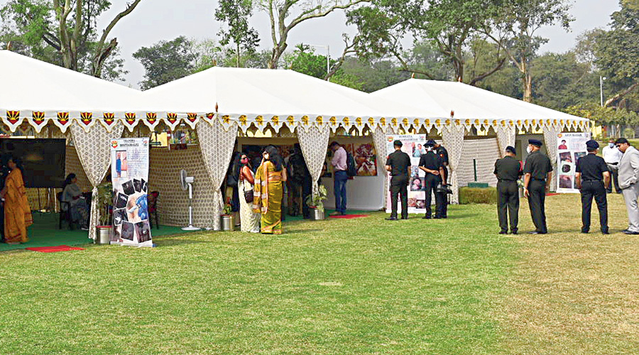 Visitors at the exhibition on the Vatika lawns of Fort William on Monday.