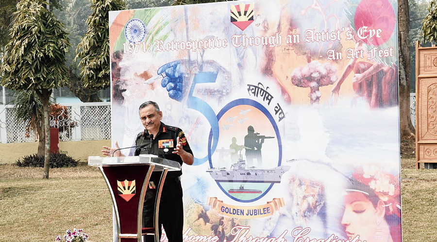 Lt Gen Anil Chauhan, GOC-in-C, Eastern Command, speaks at the inauguration of the art camp.