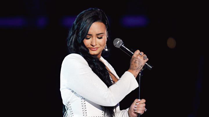 Demi Lovato performing during the Tell Me You Love Me World Tour at Barclays Centre of Brooklyn in 2018 in New York City.