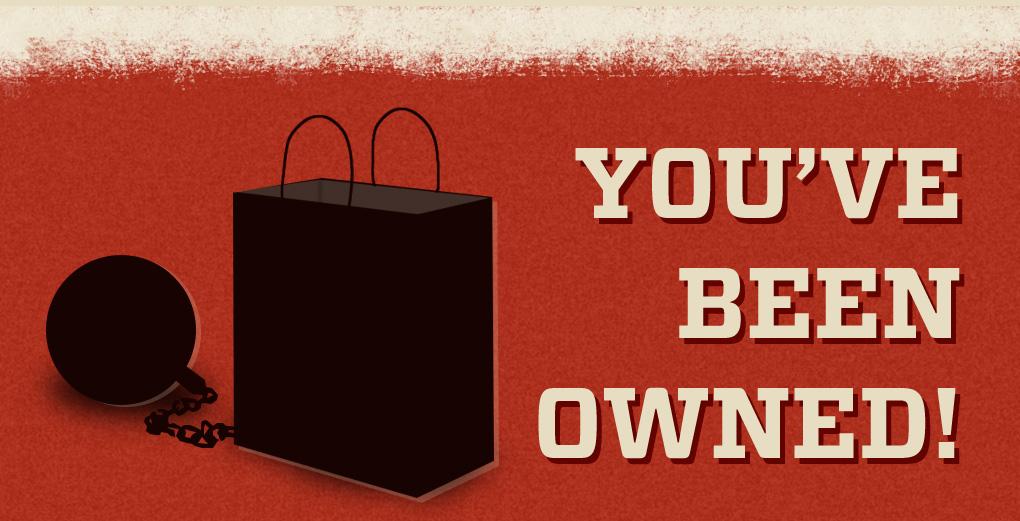 imagen de una bolsa de compra atada con cadenas