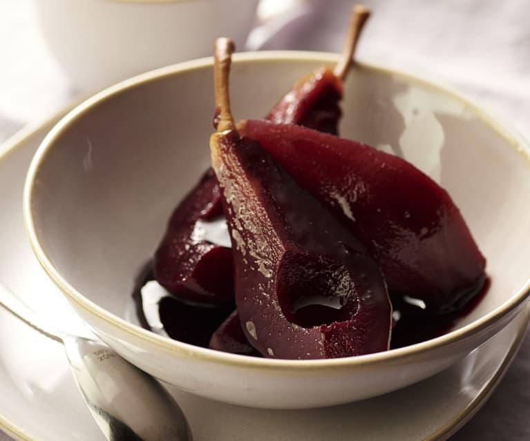 poires au vin rouge