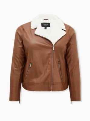 cognac faux leather sherpa lined moto
