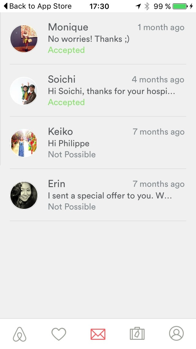 Message List Screen on iOS by Airbnb from UIGarage