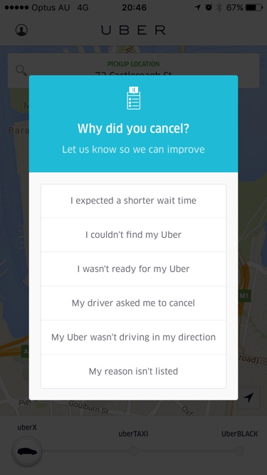 Cancelling question on iOS by Uber from UIGarage