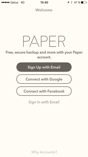 Signup/Login page on iOS by Fiftythree from UIGarage