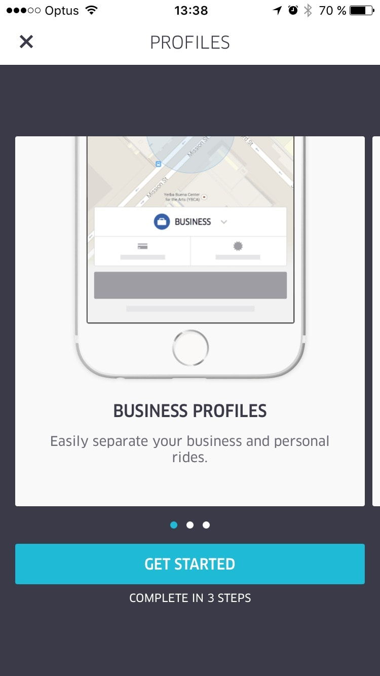 Walkthrough on Uber Business on iOS from UIGarage