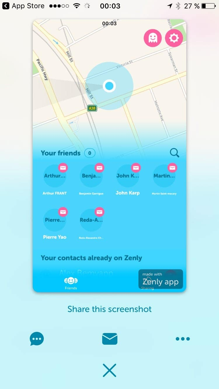 Take screenshot on iOS by Zenly from UIGarage