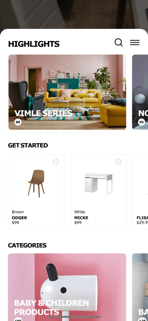 Homepage on iOS by Ikea Place from UIGarage