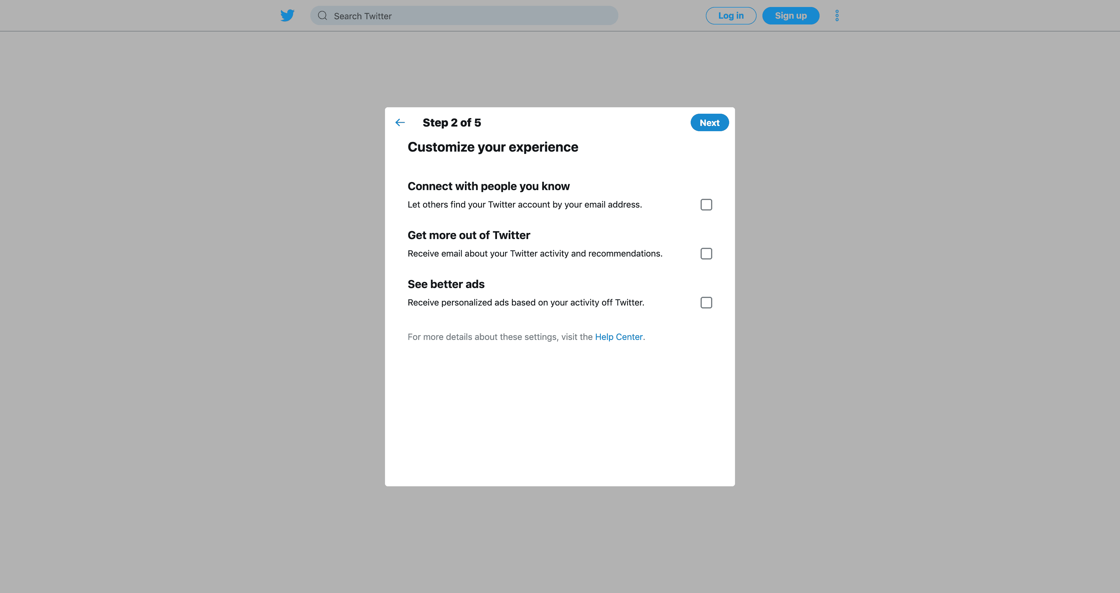 Create an account (Step 2) by Twitter from UIGarage