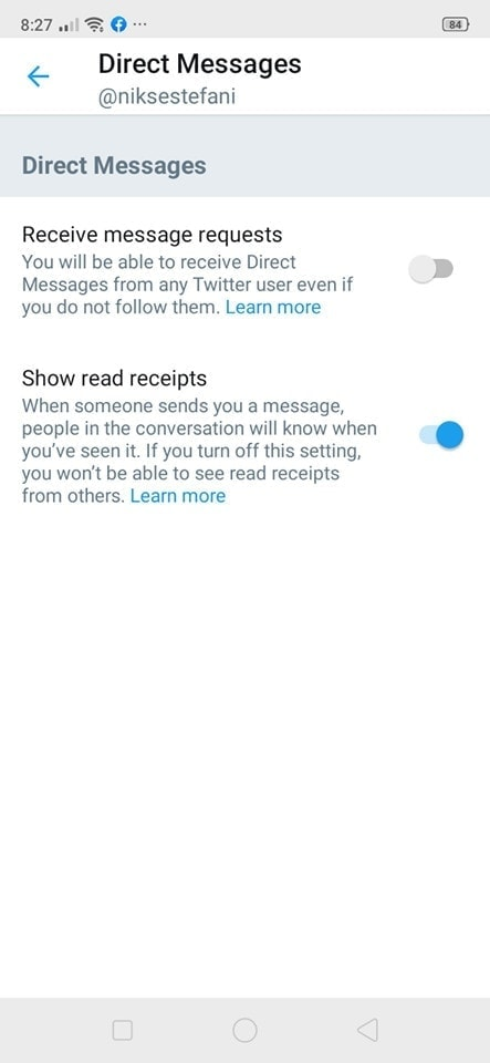 Direct Messages Settings on Android by Twitter from UIGarage