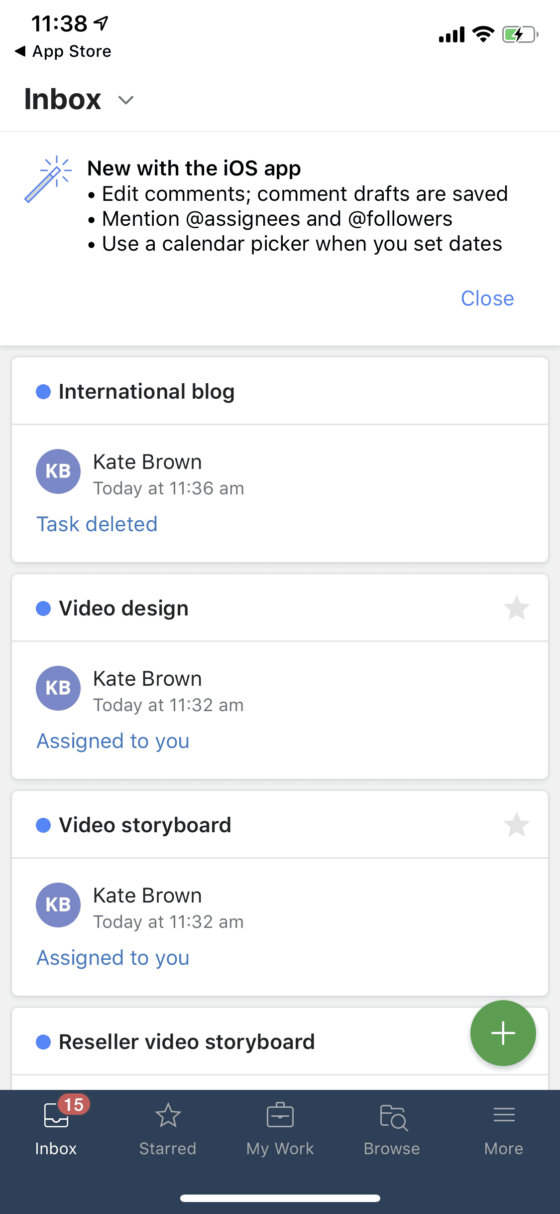 Inbox on iOS by Wrike from UIGarage