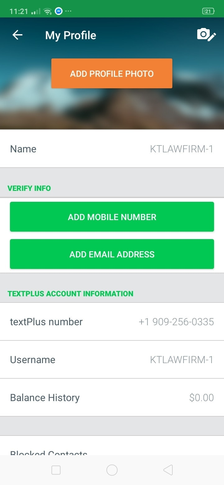 Profile on Android by Text Plus from UIGarage