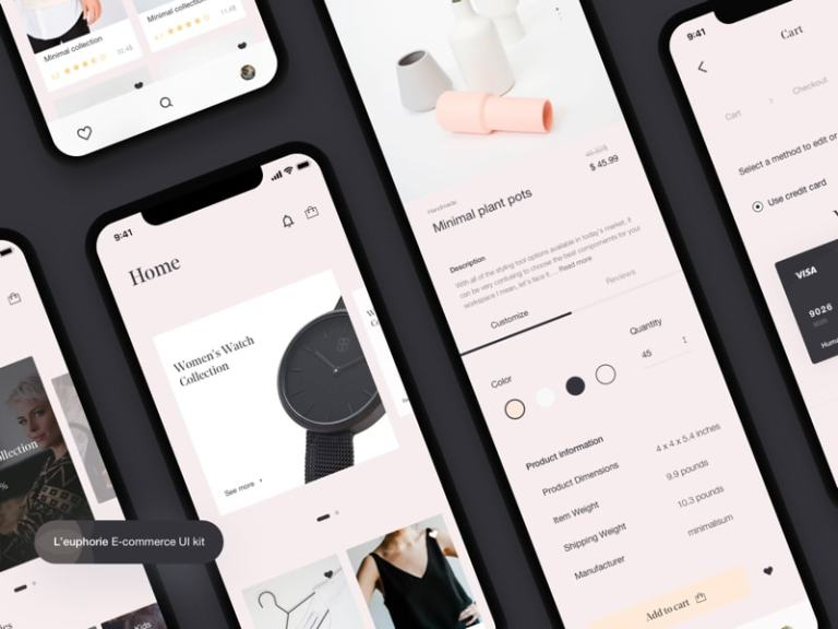 L'euphorie E-commerce UI Kit Freebie from UIGarage
