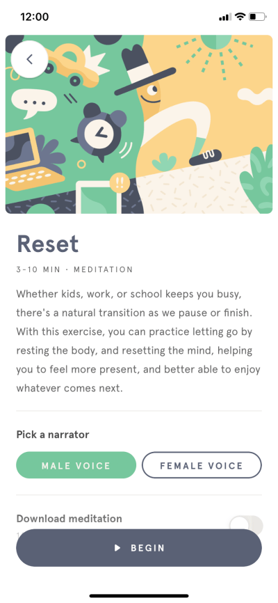 Content Screen by Headspace on iOS 2019 from UIGarage