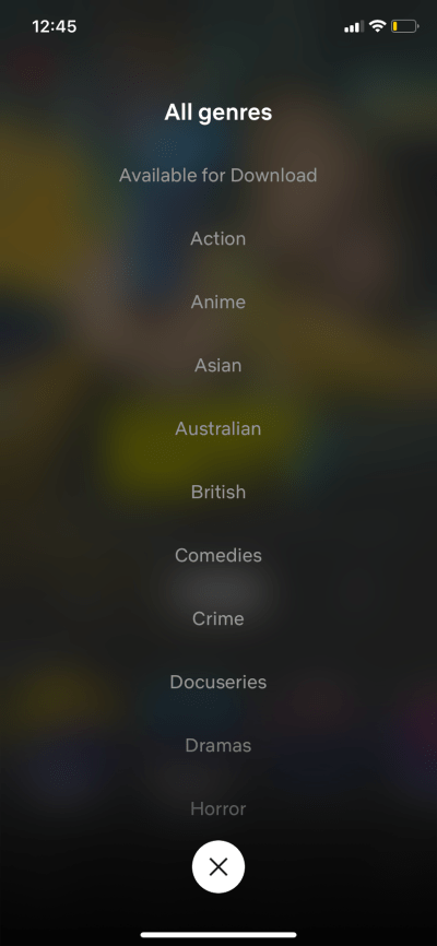 All Genres on iOS by Netflix from UIGarage