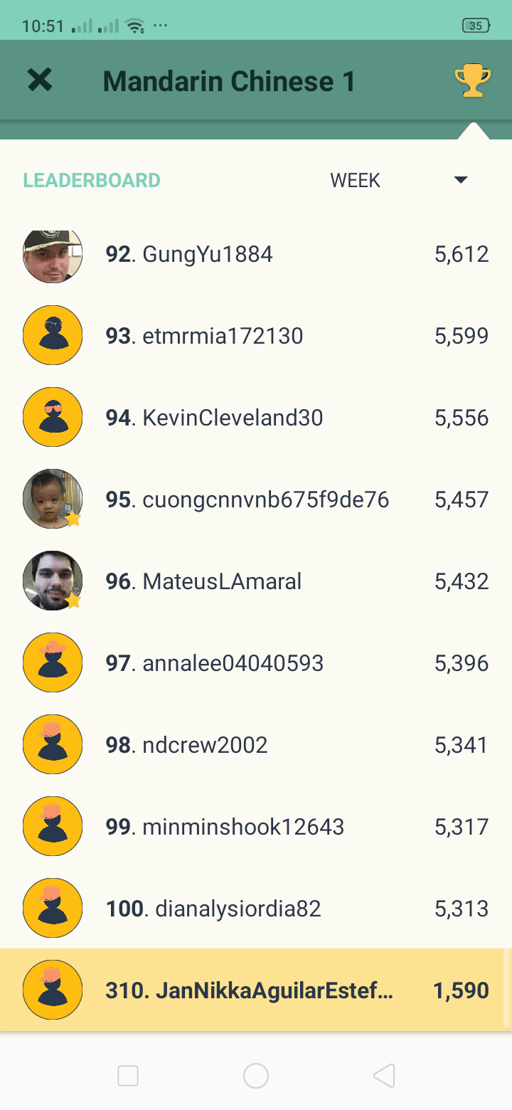 Leaderboard on Android by Memrise from UIGarage