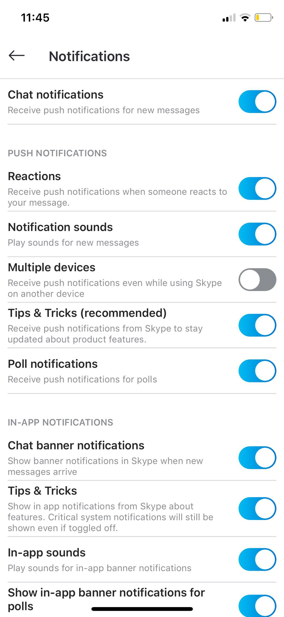 Notifications Settings on iOS by Skype from UIGarage