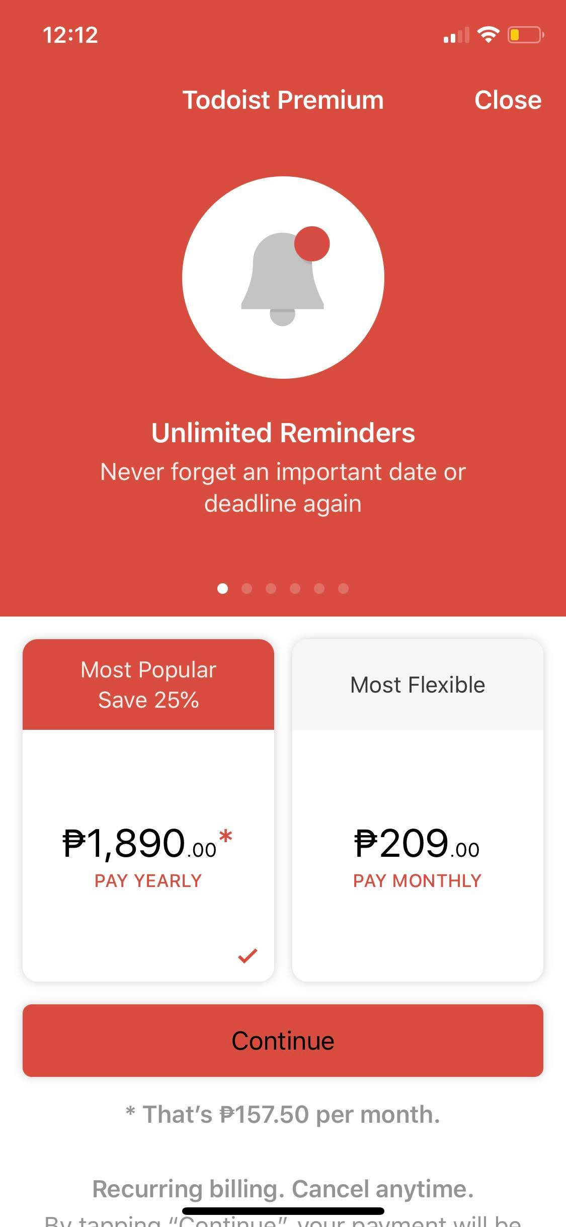 Pricing on iOS by Todoist from UIGarage