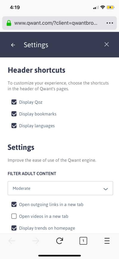Settings on iOS by Qwant from UIGarage