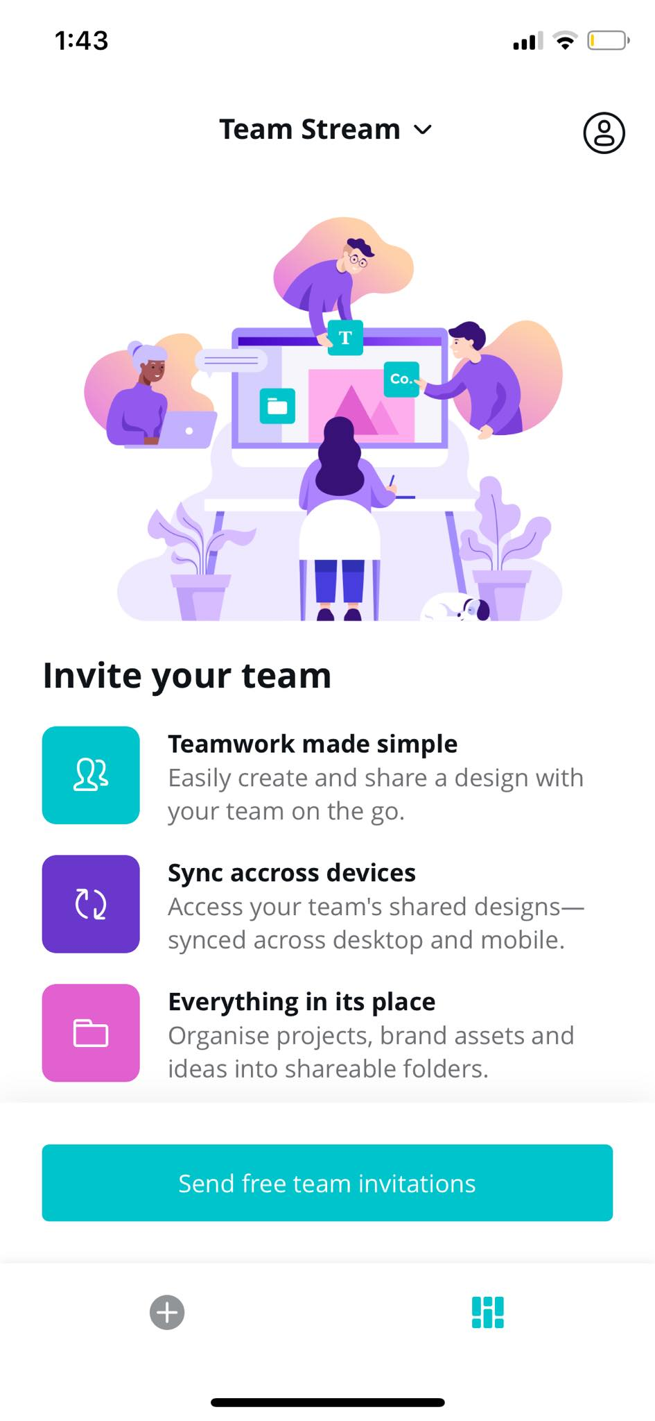 Team Stream on iOS by Canva from UIGarage