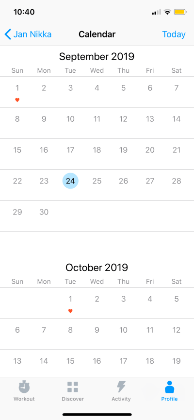 Calendar on iOS by Seven from UIGarage