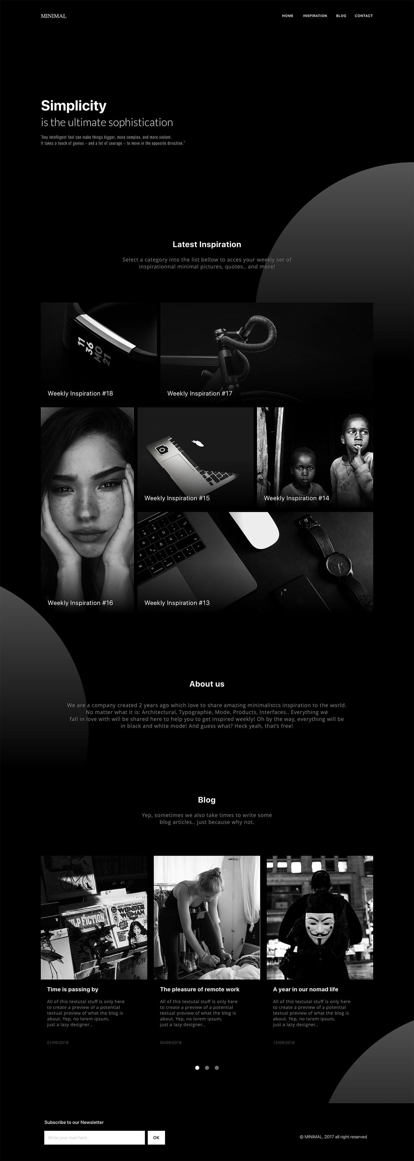 Minimal Black / White Website from UIGarage