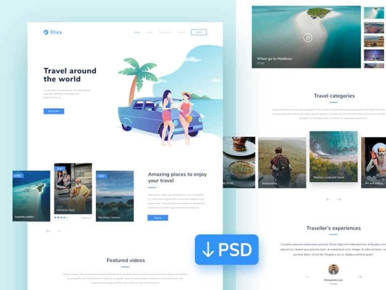 Rhea - Travel Landing Page from UIGarage