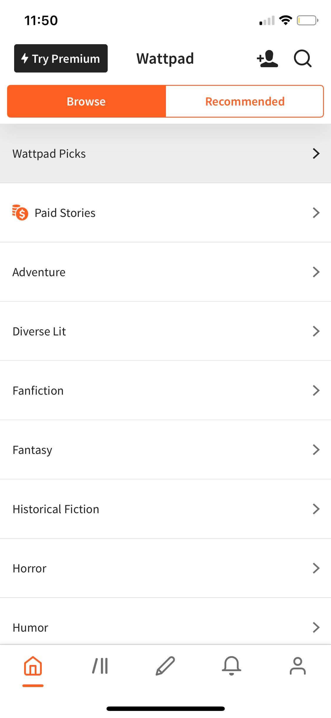 Browse on iOS by Wattpad from UIGarage