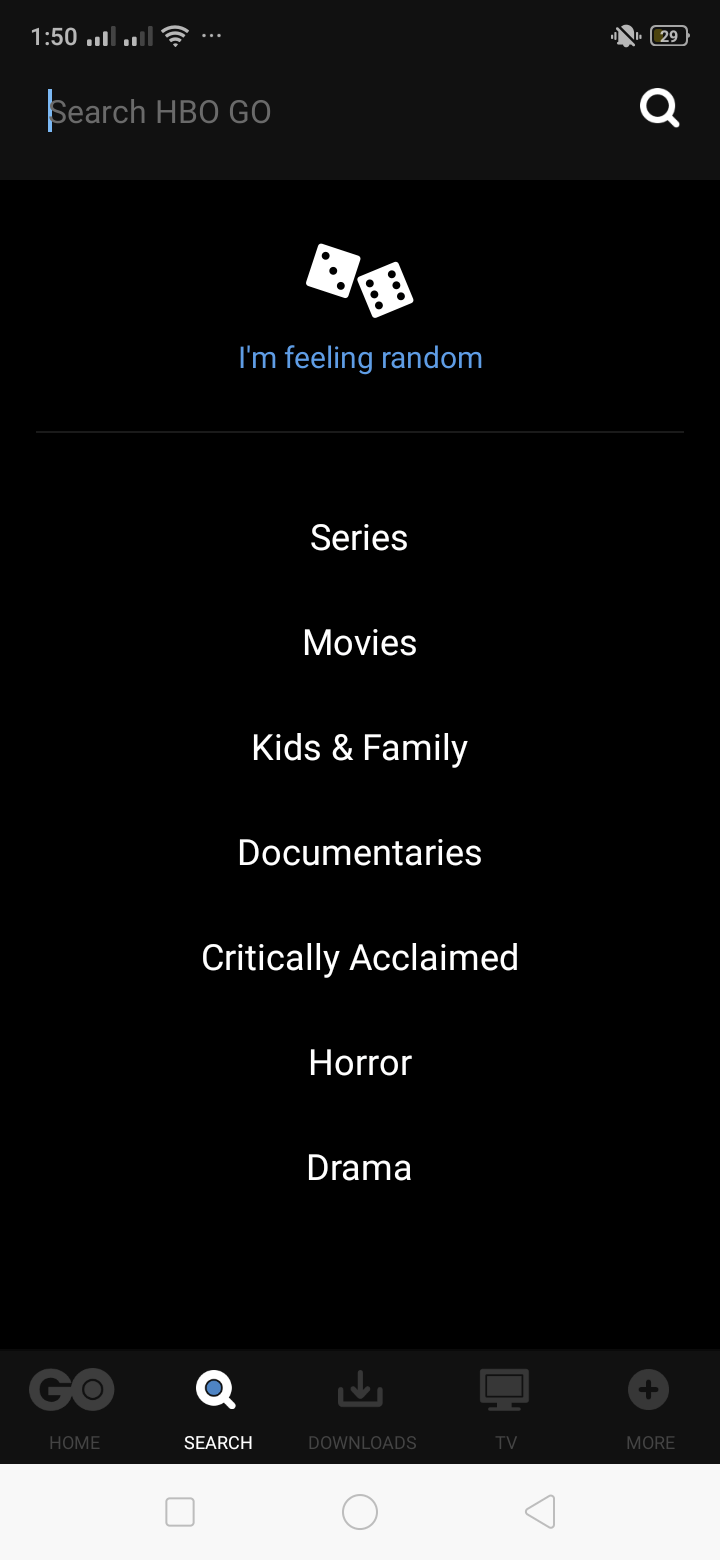 Categories on Android by HBO GO from UIGarage