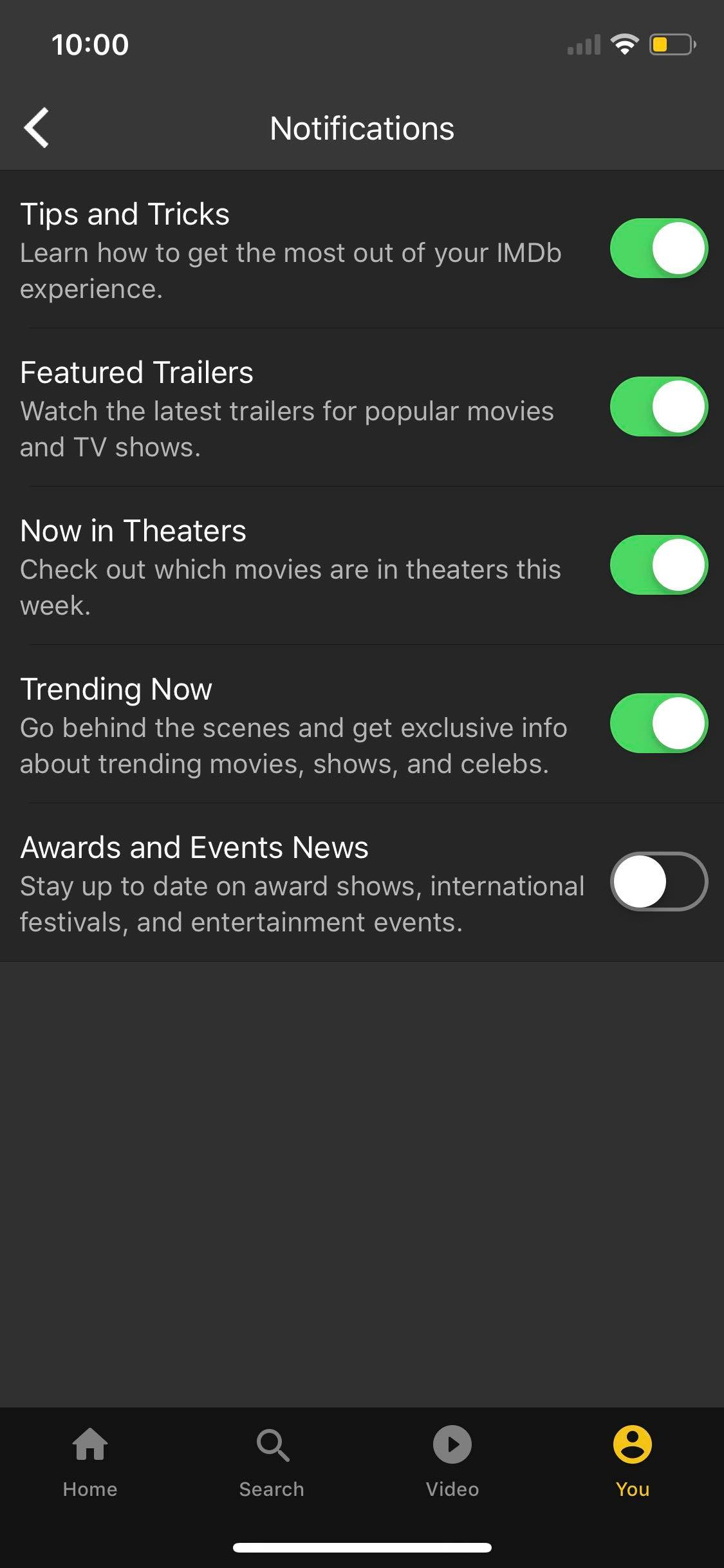 Notifications Settings on iOS by IMDb from UIGarage