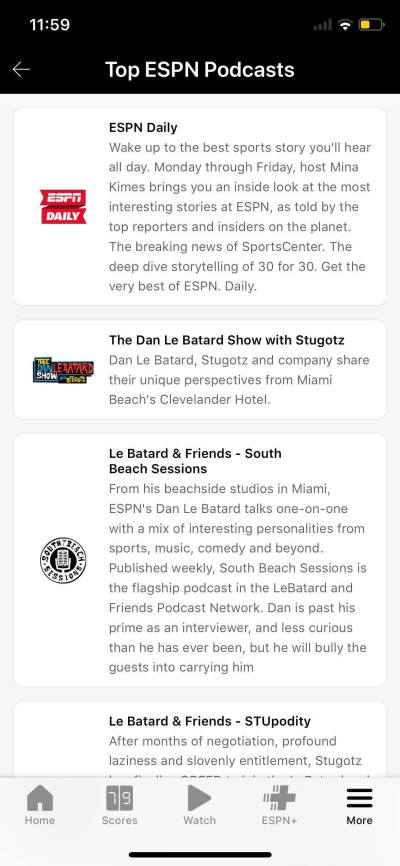 Podcasts on iOS by ESPN from UIGarage