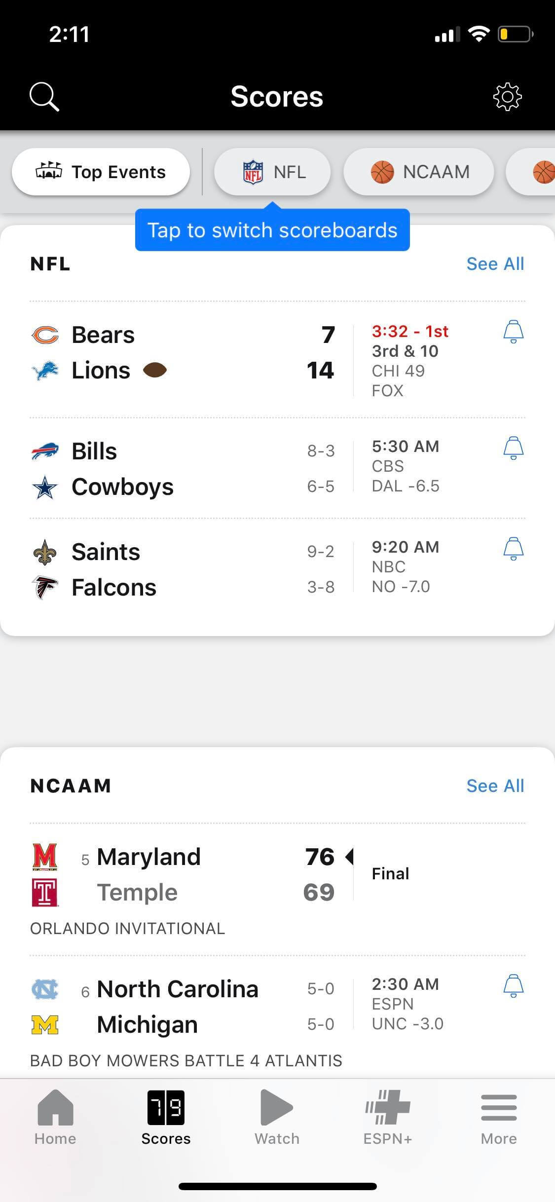 Scores on iOS by ESPN from UIGarage