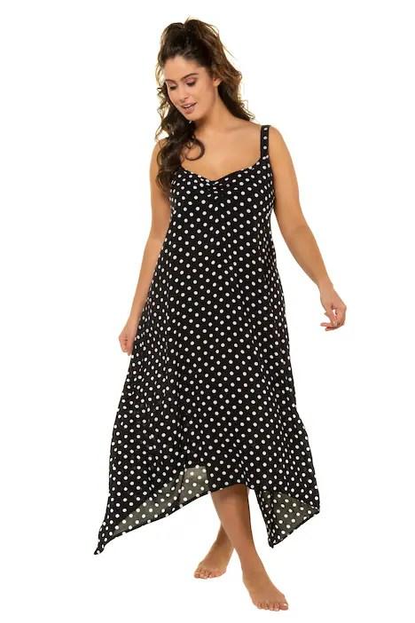 Plus Size Polka Dot Swing Hem V-Neck Tank Beach Dress