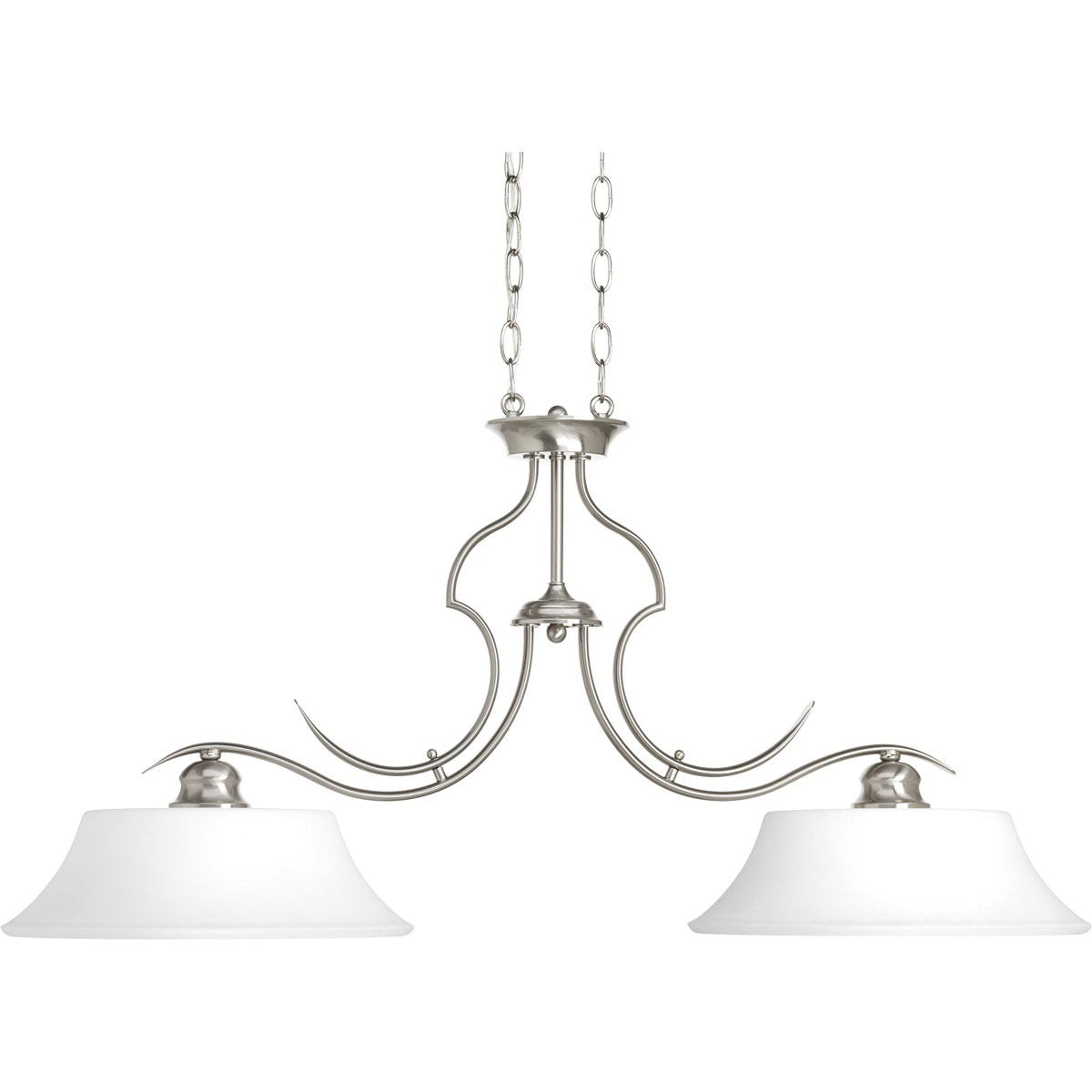 Progress Lighting P 09 2 Light Chandelier 100 Watt Brushed Nickel Applause