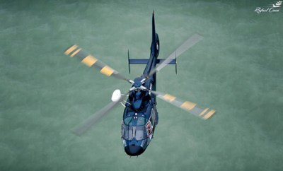 Airbus Helicopters AS365 N during search-and-rescue exercise over the Black Sea in Tuzla