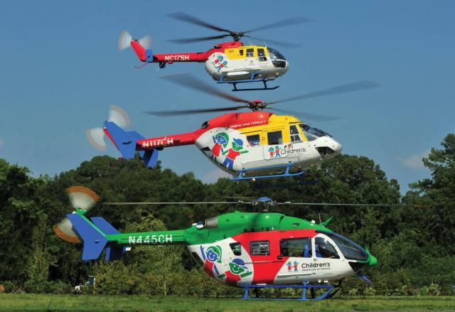 Family portrait: CHOA's new EC145e poses with its BK117 (center) and legacy BO-105 (top).