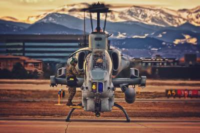 A Bell AH-1 Cobra ground run, against a backdrop of snow-dusted mountains. Photo submitted by Bill Lavery