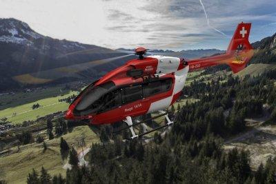 Red Rega helicopter in flght