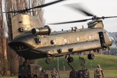 Royal Air Force Chinook helicopter in a hover during training.