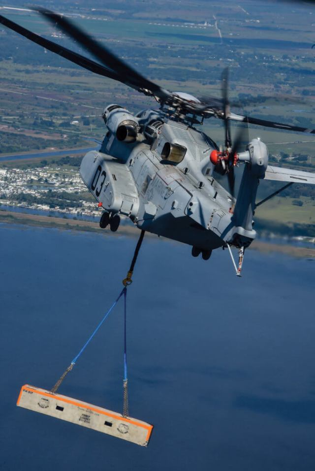 The CH-53K's main rotor is 79 feet (24 meters) in diameter, and its tail rotor alone produces as much thrust as the main rotor on a Sikorsky S-76 helicopter.