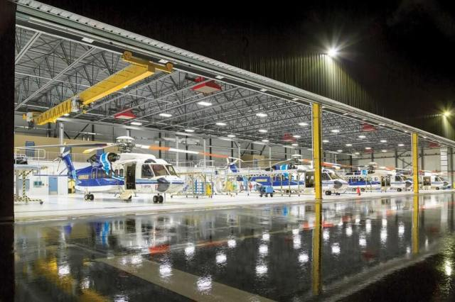 Cougar's new hangar in St. John's is currently home to four S-92s, but it has room for a fifth without requiring any intermeshing of blades. Heath Moffatt Photo