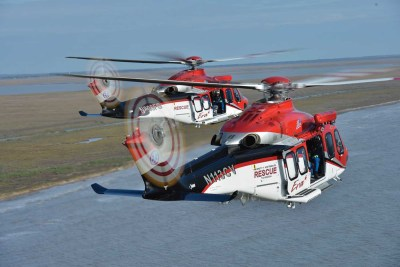 Two Era Leonardo AW139s take flight in the Gulf of Mexico. The aircraft's powerplants are PT6C-67Cs. Dan Megna Photo