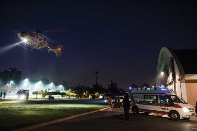 In 2014, 999 Emergency and Rescue Center of Beijing Red Cross acquired two H135 EMS helicopters, with the first entering service on Oct. 28, 2014 -- a first for China. Airbus Photo