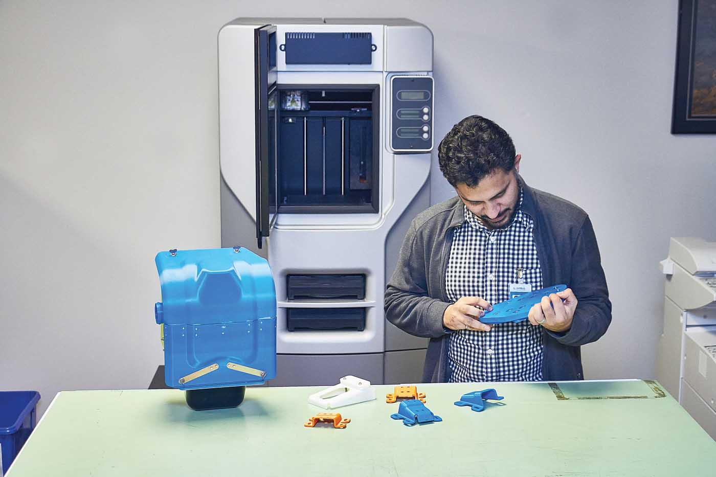 Airbus Helicopters Canada purchased an additive manufacturing machine two years ago, and uses it to make ABS plastic parts — primarily for creating prototypes, but also for manufacturing jigs and basic checking tools. Vitek Zawada Photo