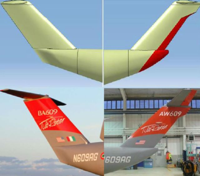 The original design of the AW609's rear fuselage and tail fin are shown on the left.