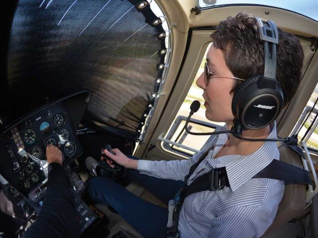 During the instrument-flying portions of the course, a blackout curtain restricts the student's visibility more effectively than the typical view-limiting hood or